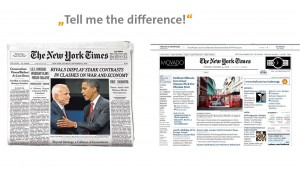 Difference between print and online NY Times